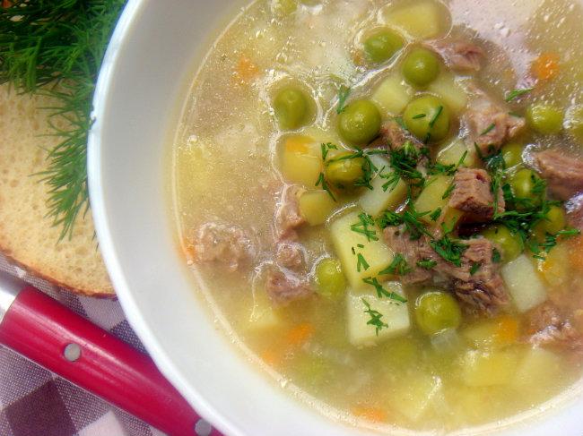 рецепт супа с зеленым горохом и мукой