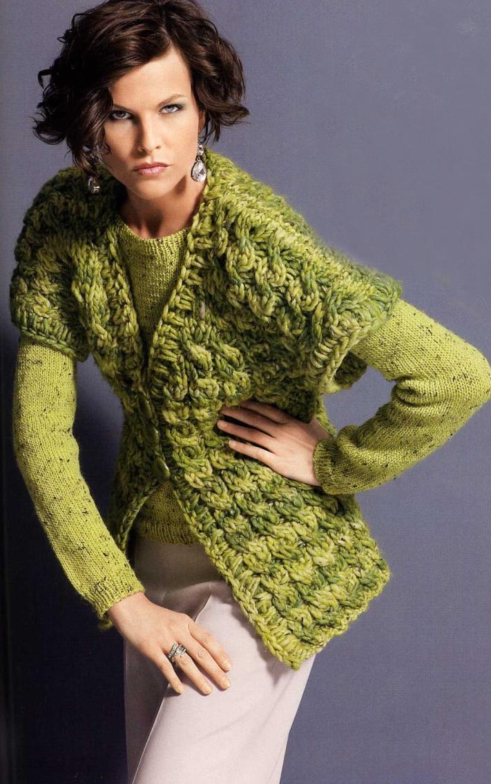 Стильное вязание жилет спицами