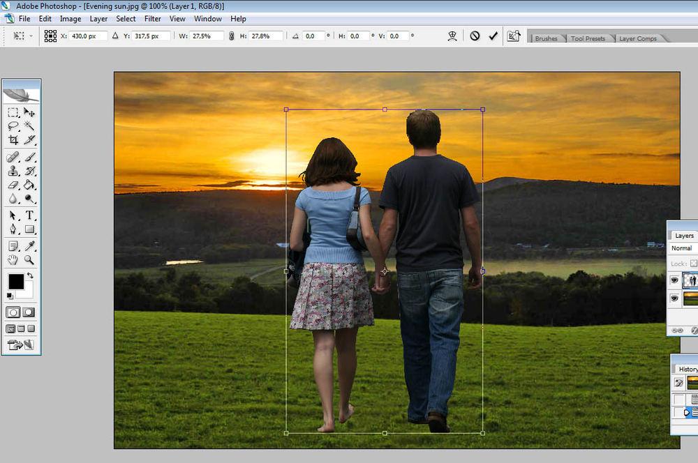 поменять фон на фото в фотошопе