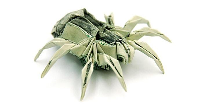 Сложить из долларов паука