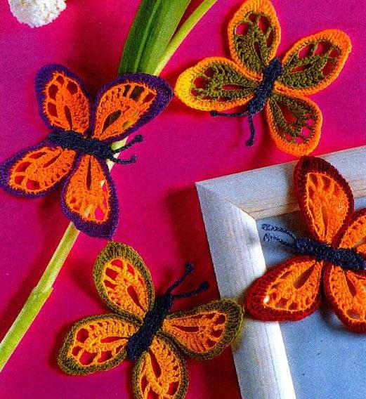 Как связать крючком бабочку
