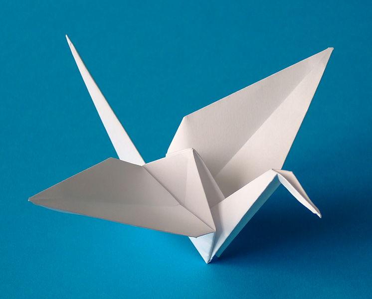 сделать журавля оригами