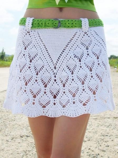 Оборка на юбку спицами
