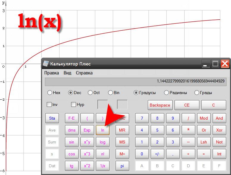 Вычисление натурального логарифма javascript