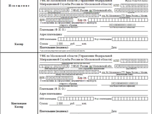 Как заполнить квитанцию на оплату госпошлины на загранпаспорт 2018