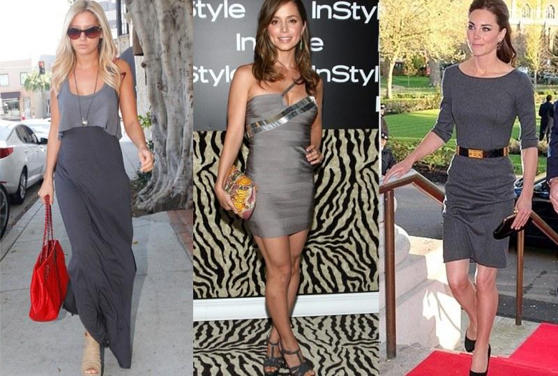 Какие одевать колготки к серому платью
