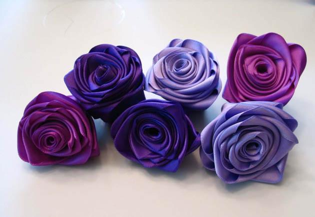 Как сделать из ленты атласной розы