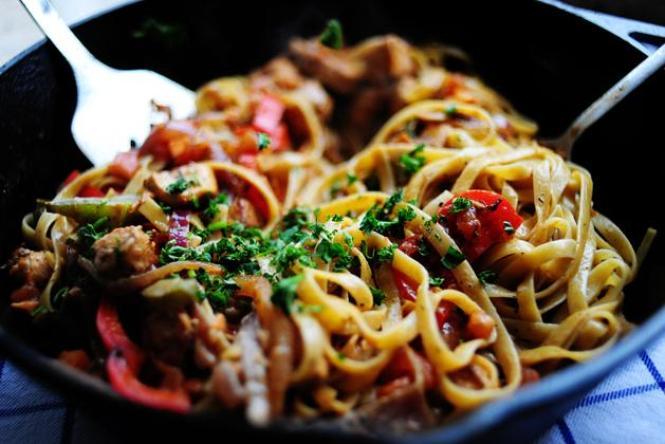 спагетти в томатном соусе с курицей рецепт