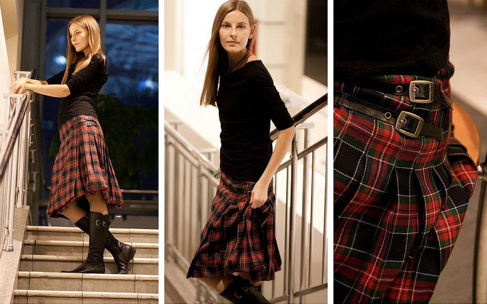 юбка шотландка с чем носить фото