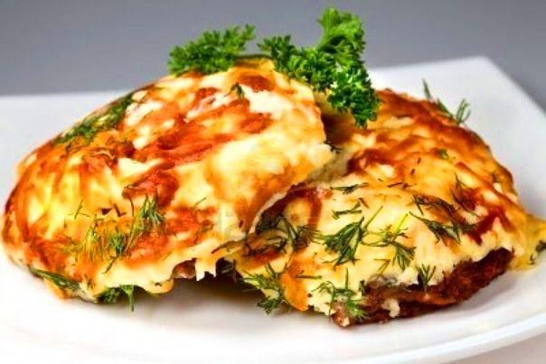 стейк из свинины с сыром и помидорами в духовке рецепт с фото