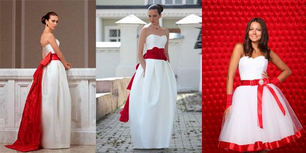 Ярким воплощением такого наряда является белоснежное подвенечное платье, украшенное красным поясом