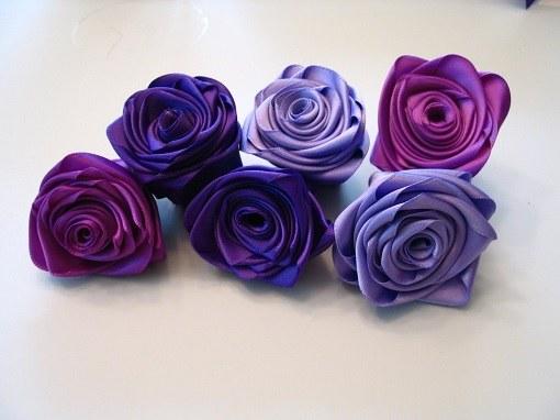 Цветы из широких лент мастер класс 115