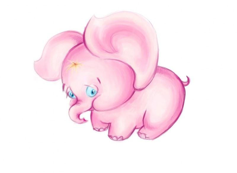 Розовый слон картинки карандашом, поздравления