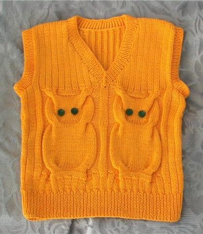 Вязания спицами жилетки для ребенка