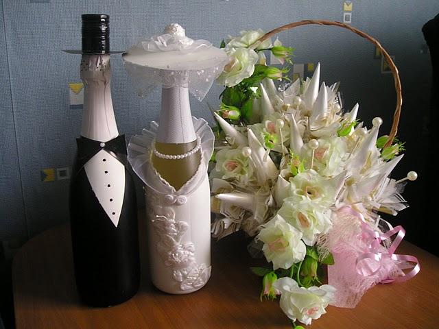 Бутылки на свадьбу своими руками из