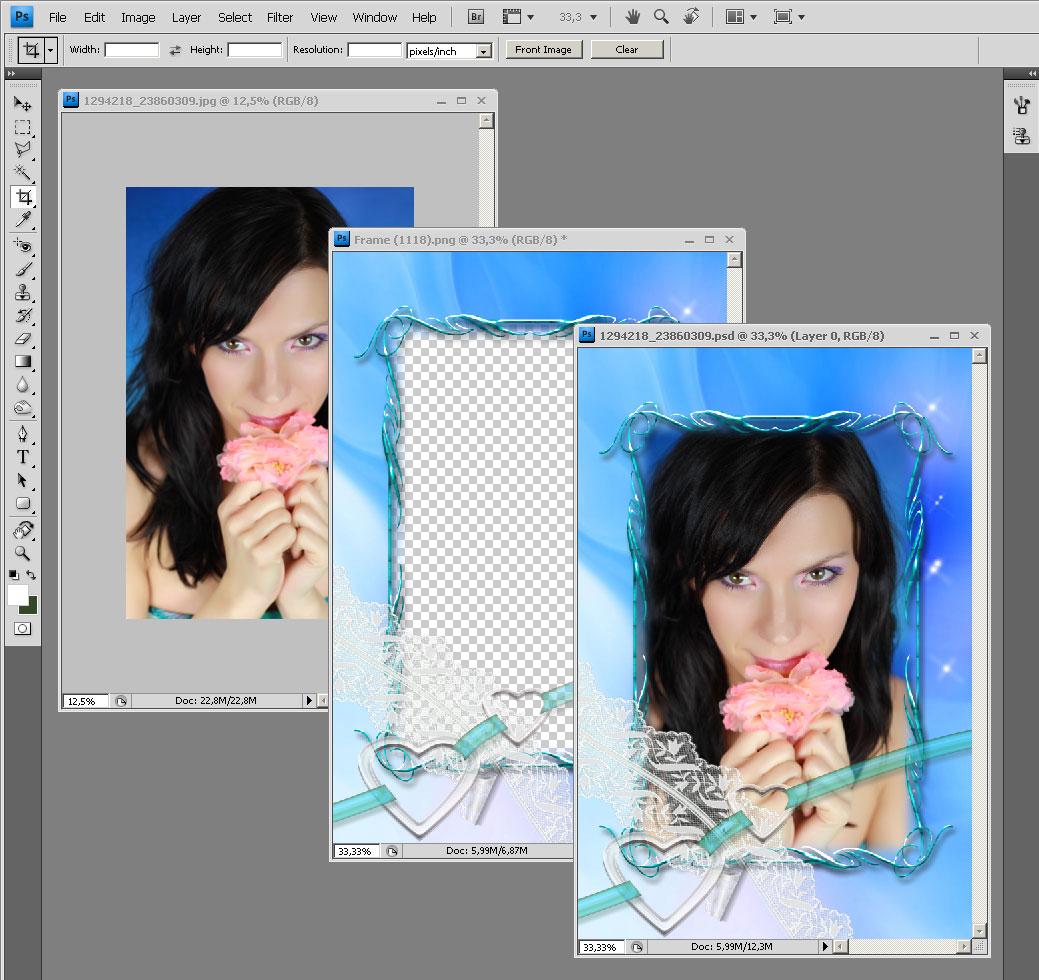 Как наложить три фотографии в одну