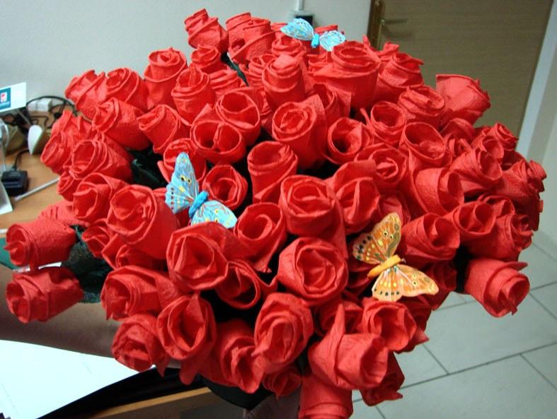 Розы из носков своими руками