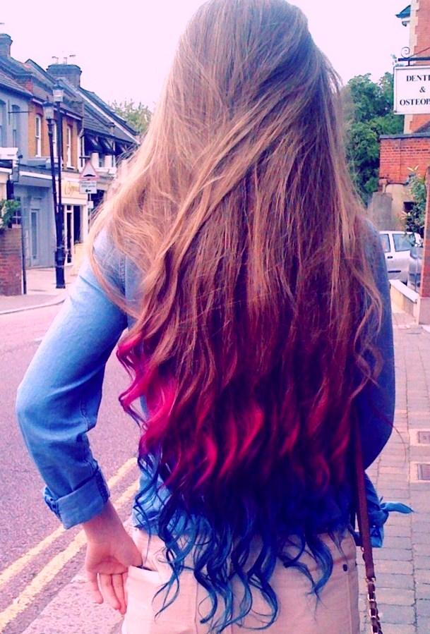 Переходный цвет волос, окрашенных цветными мелками