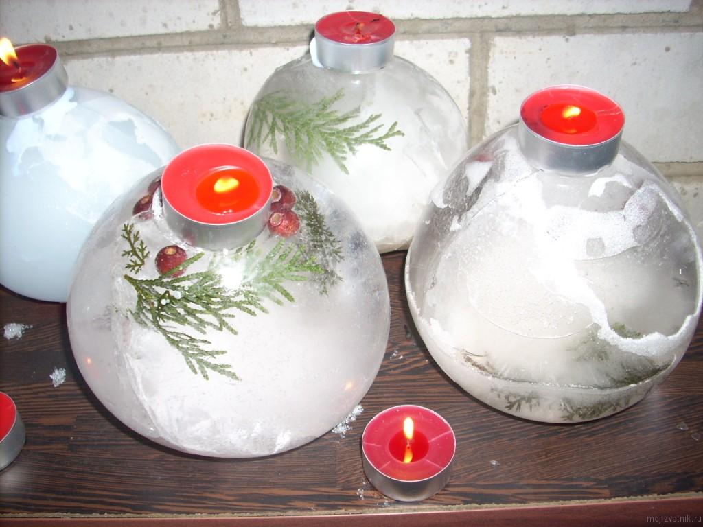 ледяной шар-подсвечник