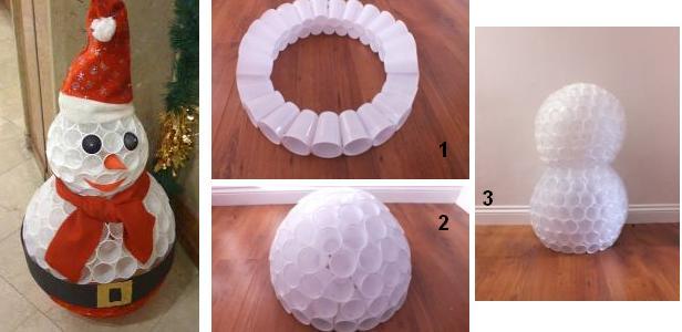 Новогодние шары из пластиковых стаканчиков своими руками
