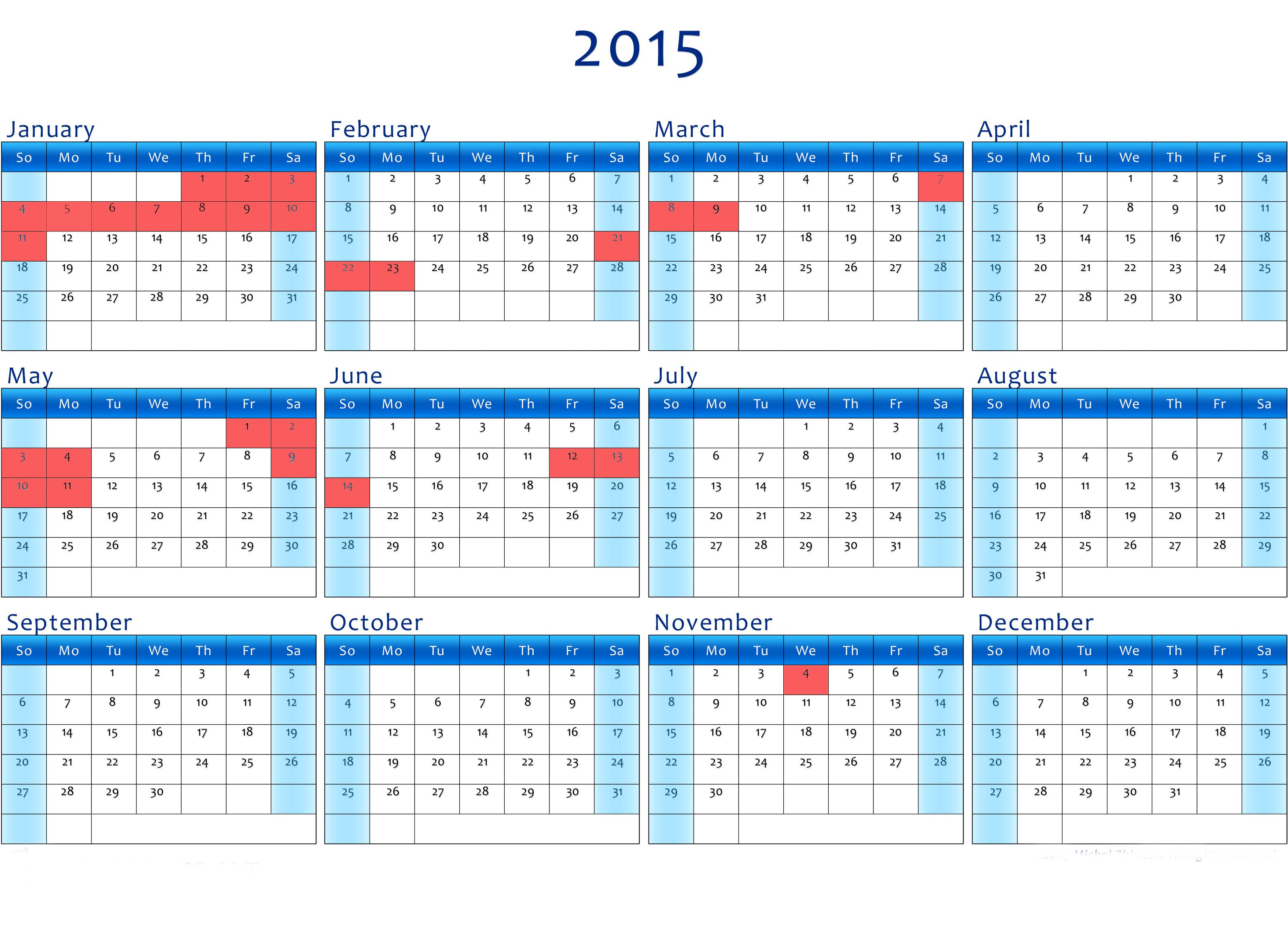 календарь выходных дней 2015 года