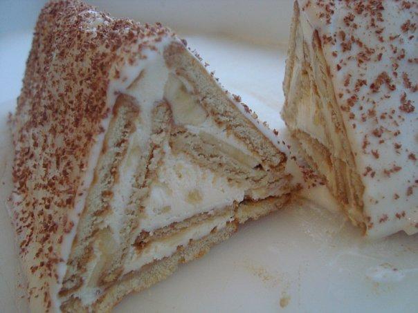 Торт Домик из печенья с творогом