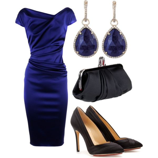 С чем носить синее платье туфли