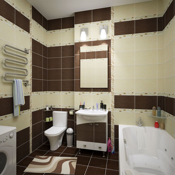 Коричневые тона и керамическая плитка активизируют элемент земли в ванной комнате