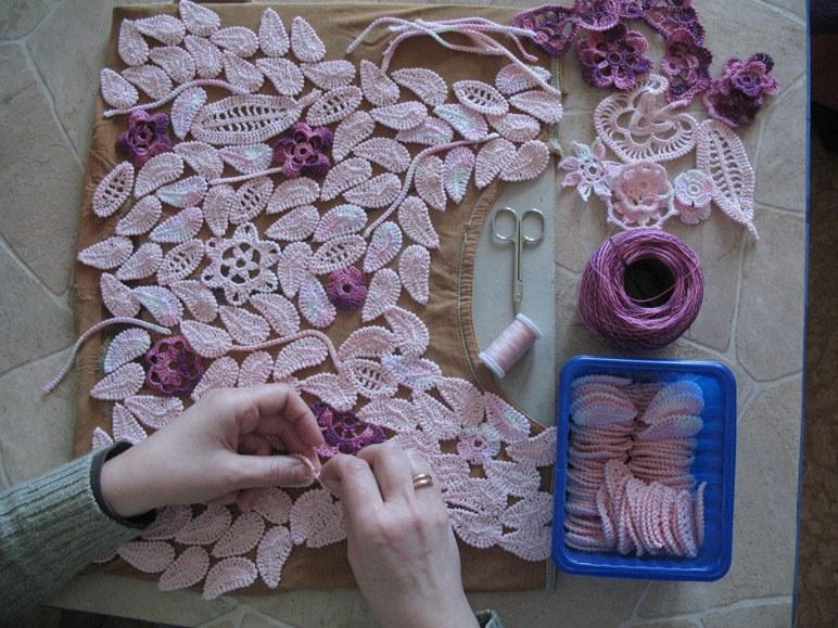 Мотивы гжели вязание