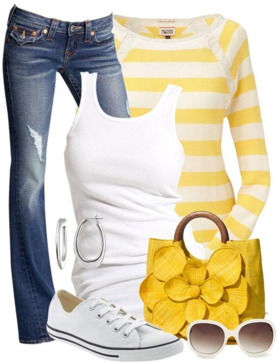 модные образы с желтым цветом фото