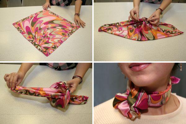 как завязать шарф розочкой