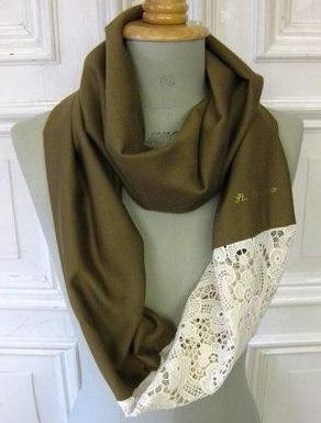 Шьем оригинальный шарф с кружевом