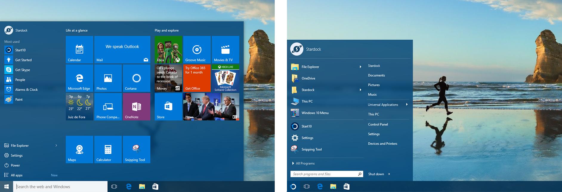 Сравнение меню Windows 10 и Start10