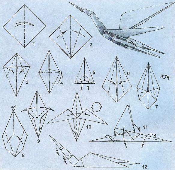 Оригами аиста схема