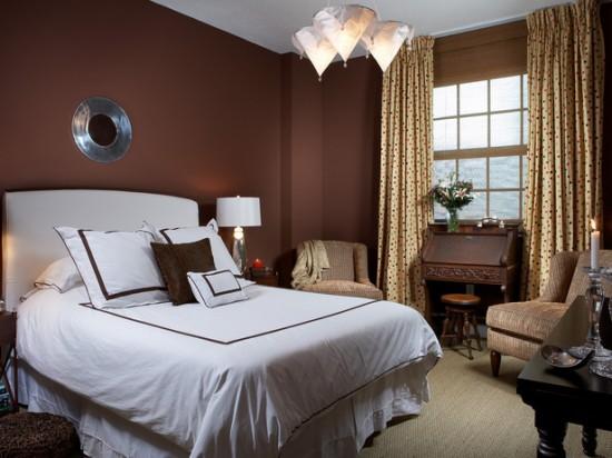 шоколадный цвет в интерьере спальни фото
