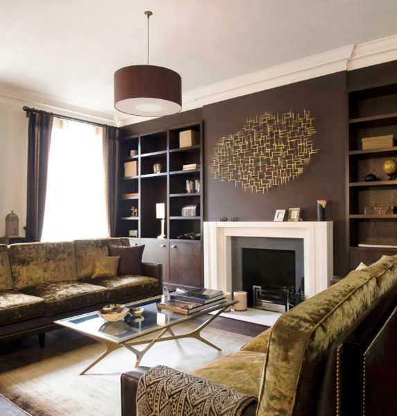 коричневый цвет в интерьере гостиной фото
