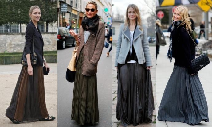 С чем носить длинные юбки платья