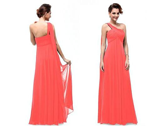 Платье из кораллового шифона