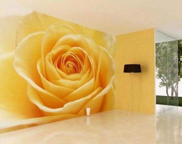 Фотообои с цветами в интерьере гостиной
