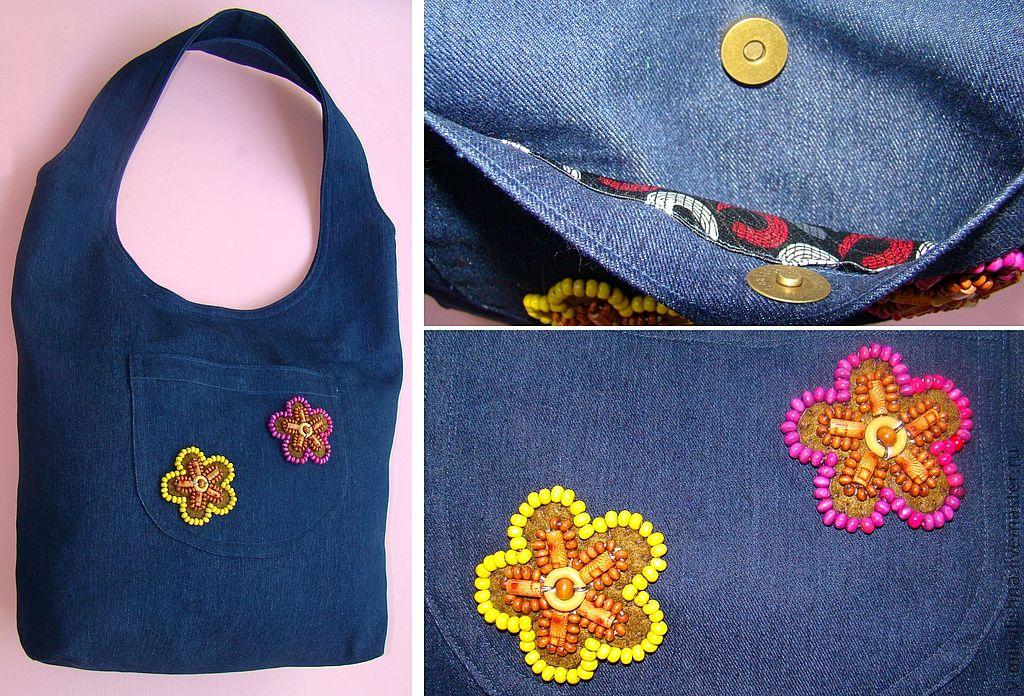 Как можно бисером украсить сумку - вышивка бисером сумки
