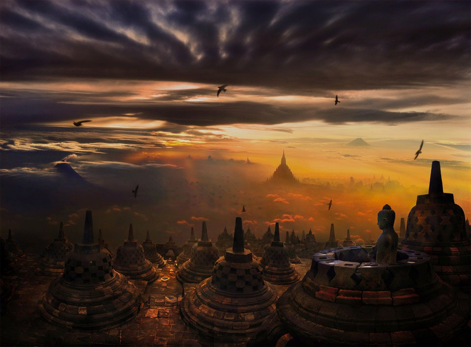 Borobudur island of Java