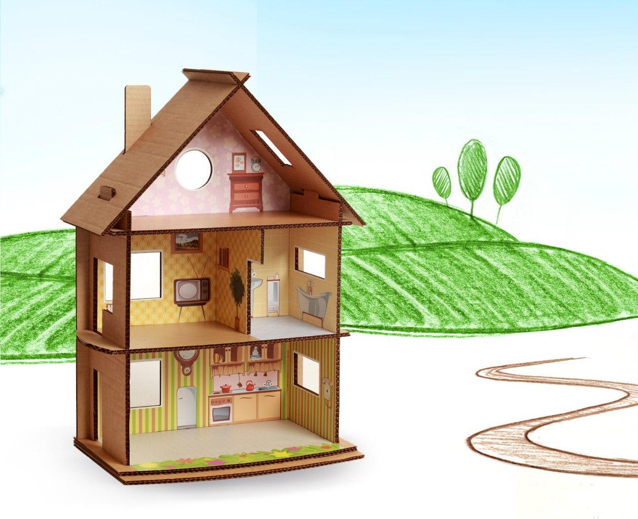 Сделать кукольный домик из картона своими руками