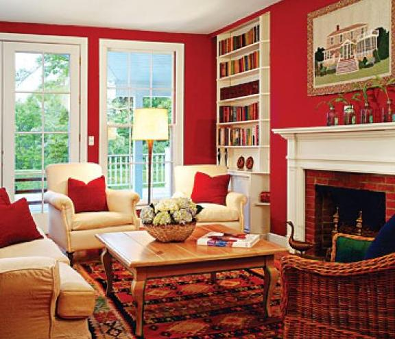 Interior in red colors