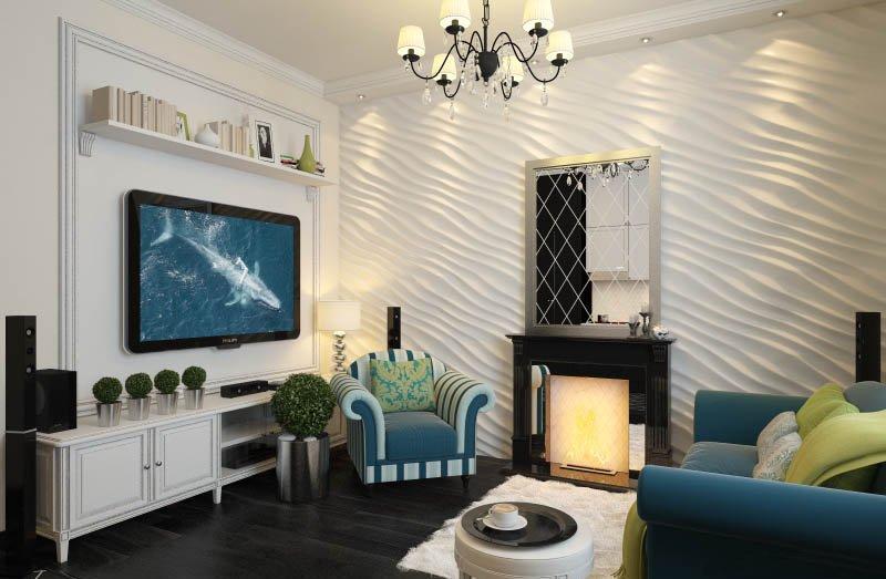 Гипсовые 3D панели в интерьере городской квартиры
