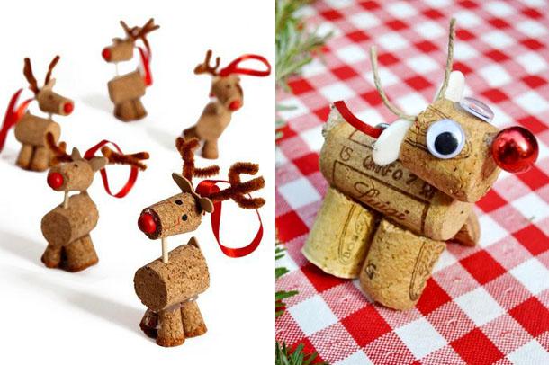 рождественский олень из винных пробок