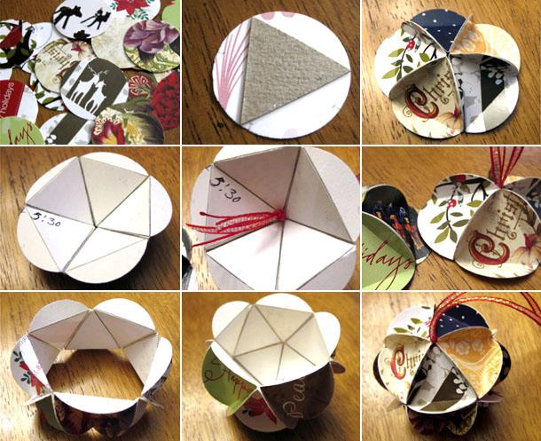 новогодний шар из открыток изготовление