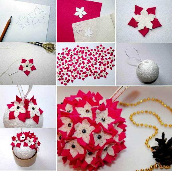 новогодний шар с цветочками из фетра