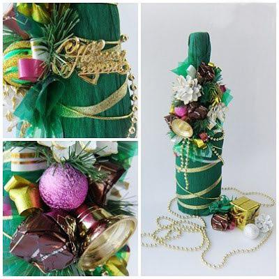 новогодняя елка из бутылки шампанского