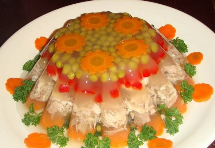 Оформление заливное из курицы пошаговый рецепт
