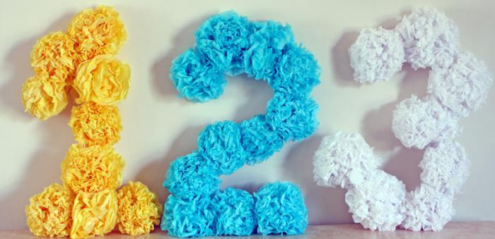 Как сделать цветы на цифру для дня рождения 21